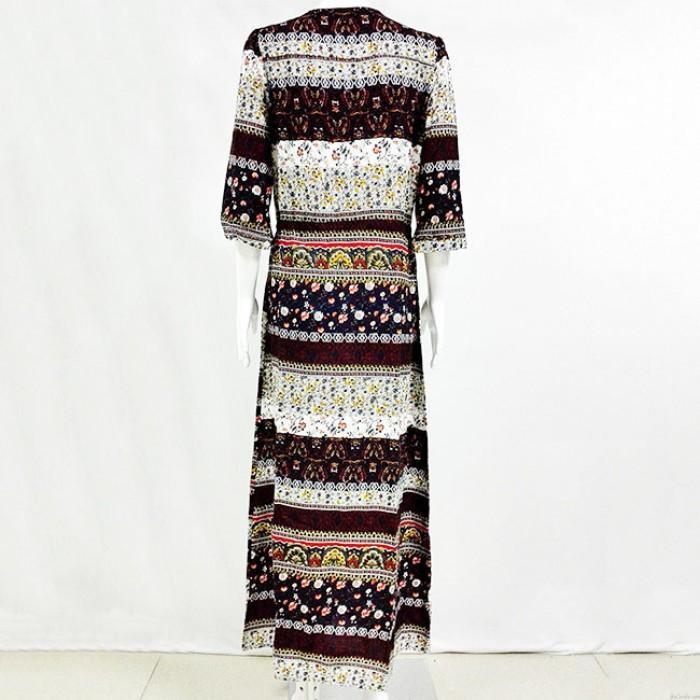 Damen Halbarm Bohemian Style Printing einreihig Kleid in voller Länge