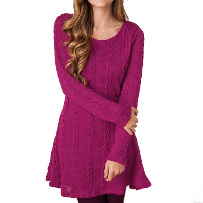 8-Farben Sweet Twist Weben Rundhals Langarm gestrickte Verdickung Pullover Kleid