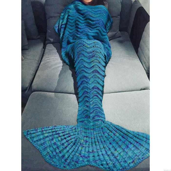 Hollow Weave Knitted Mermaid Tail Blanket For Adult Multicolor Blanket