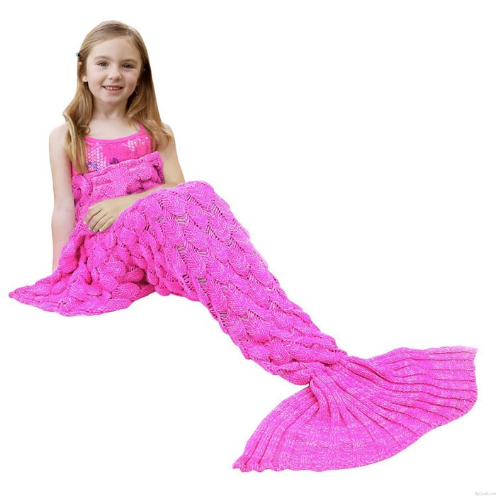Soft Fish Scales Blanket For Children Knitted Mermaid Tail Blanket