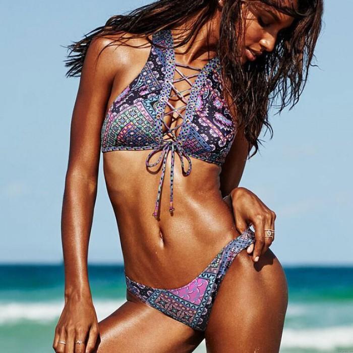 Sexy Badeanzug Gedruckt Teilt Mehrfachseil Bandage Bikini