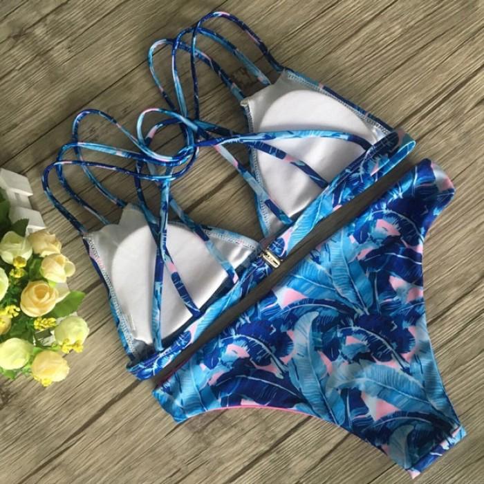 Mode blaue Bananenblätter gedruckt Bikini einstellen