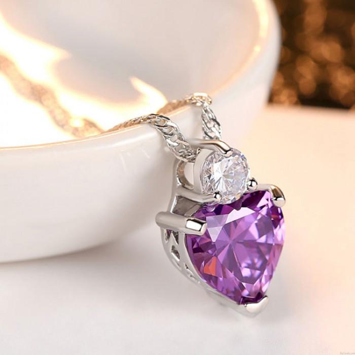 Glänzende aufrichtige Liebe Herz Kristall Zirkon Halskette Ohrstecker Set