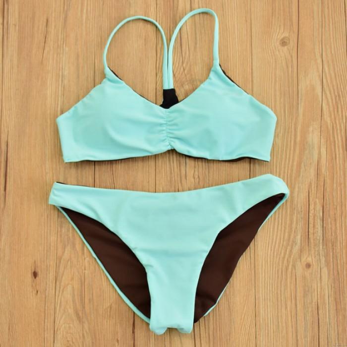 Sexy Badeanzug Halter Bademode Doppelt Minzgrün Bikini-Set
