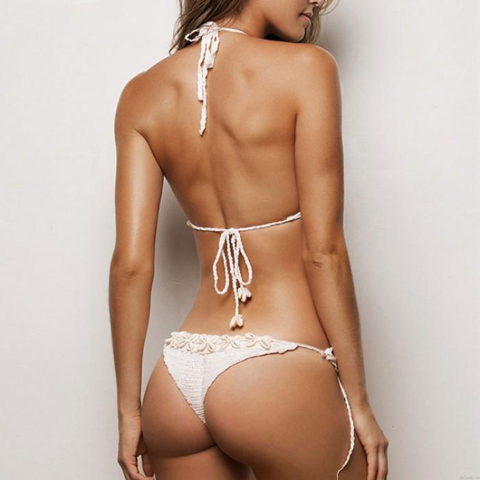 Sexy Damen Weben Schale Bikini Zwei Stück Strand Schlinge Badeanzug