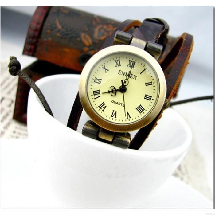 Seilwickelband elegante Damen Lederhandseil Uhr