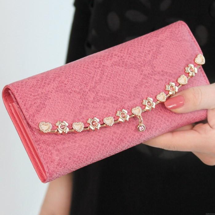 Elegante Legierte Blumen Leder Brieftasche