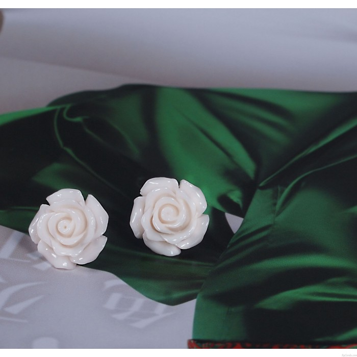 Neu Süß Silber Lack Koralle Rosen Blumen Ohrring