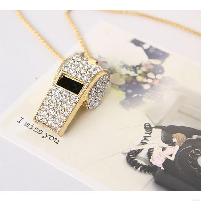 Einzigartige Süßes Strass Halskette Whistle