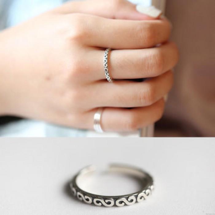 Retro plattiert Perle Quadrat hohlen Totems Dot Design Silber offenen Ring