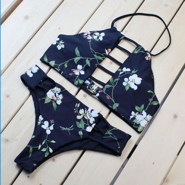 Sommer Damen dunkelblaue Bandage Bikini Set Druck Split Badeanzug