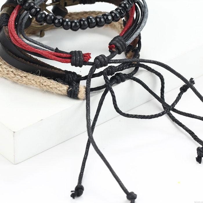 Punk Lederarmband Handgewebte mehrschichtige Vintage Rudder Armreif Perlenarmband