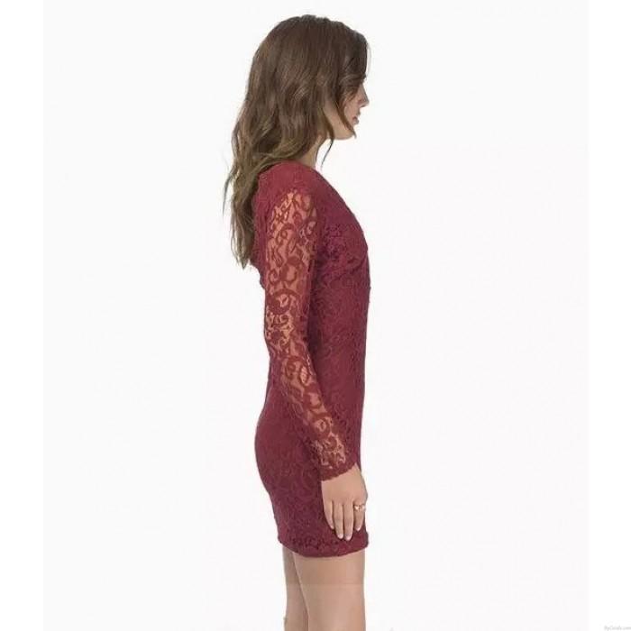 Reizvoller Spitze tief V-Ausschnitt-Kleid aushöhlen