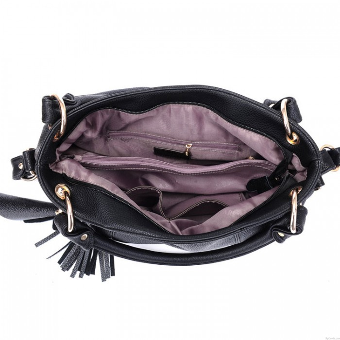 Mode Leder Tassel Lychee Embossed Handtasche Schultertasche
