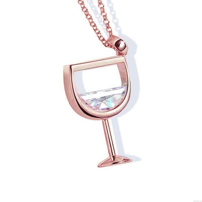 Nette Rotweinglas Zirkon Tasse Anhänger Frauen Halskette