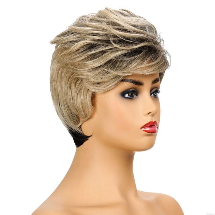 Mode Schwarzes Farbverlaufslicht Golden Diagonal Pony Kurzes Haar Weibliche Haarperücken