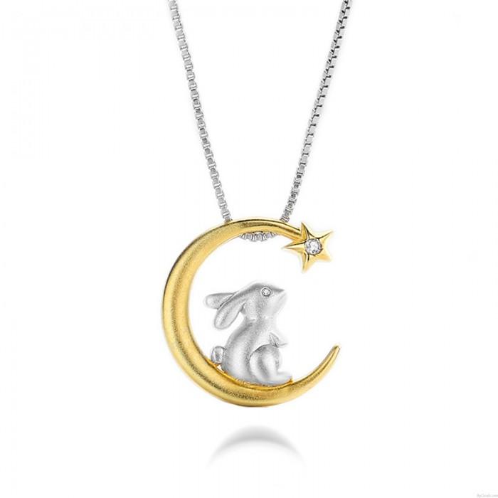 Neu Hase Tier Halskette Geschenk für Mutter Tochter Schwester Teen Mädchen Freunde Design Mond Star Matt Kaninchen Silber Frauen Halskette