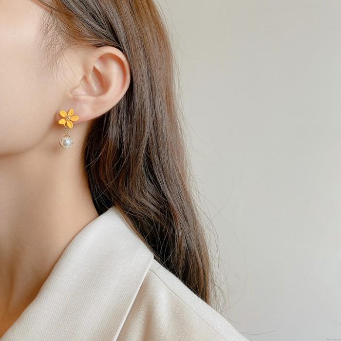 Frische gelbe Blumen-Perlen-Tropfen-Kristall-Ohrringe für Frauen-Ohrstecker