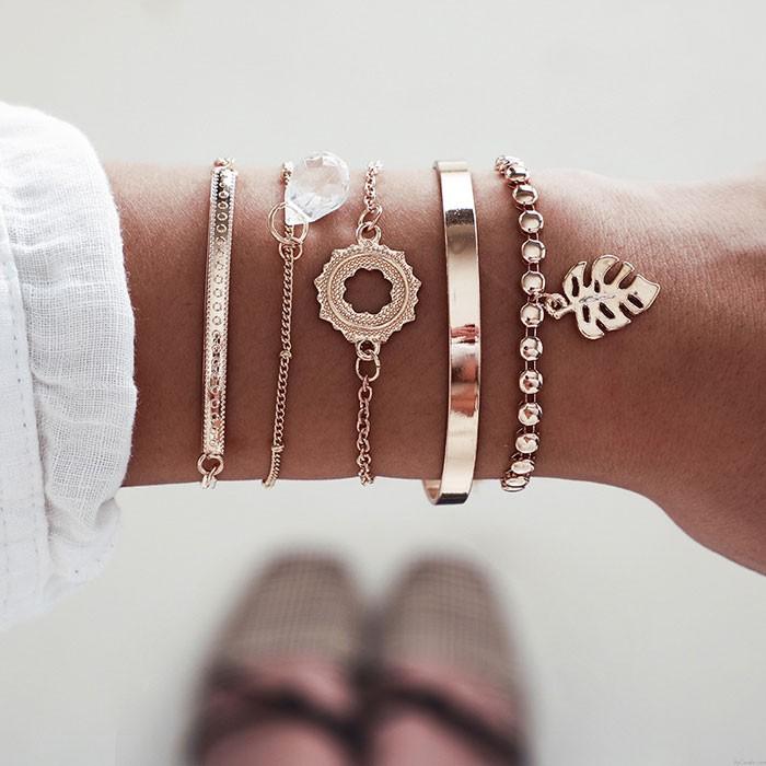 Mode Perle Kette Blätter Kristall 5 Stück Set offenes Armband