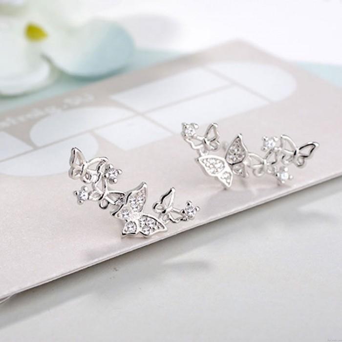 Mode Frauen Herz Bogen Ohrringe Diamant lange Schmuck Schmetterling Ohrringe Ohrstecker