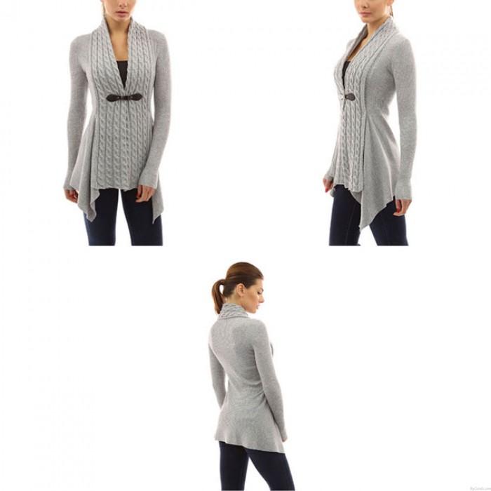 Mode Damen V-Ausschnitt Schnüren Gestrickt  Irregulär Niedriger Saum Lange Ärmel Strickjacke