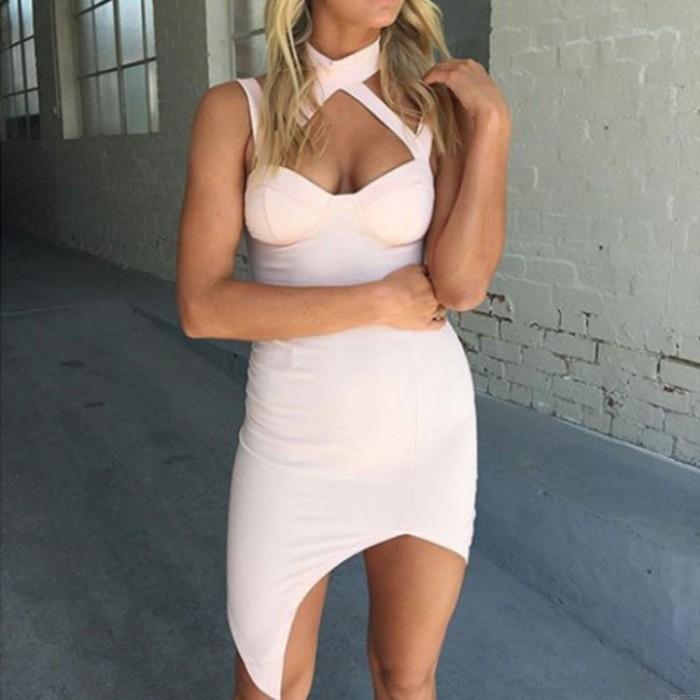 Mode Trägerlos Trägerlos Neckless Ärmellos Eng anliegender Nachtclub Sexy Kleid