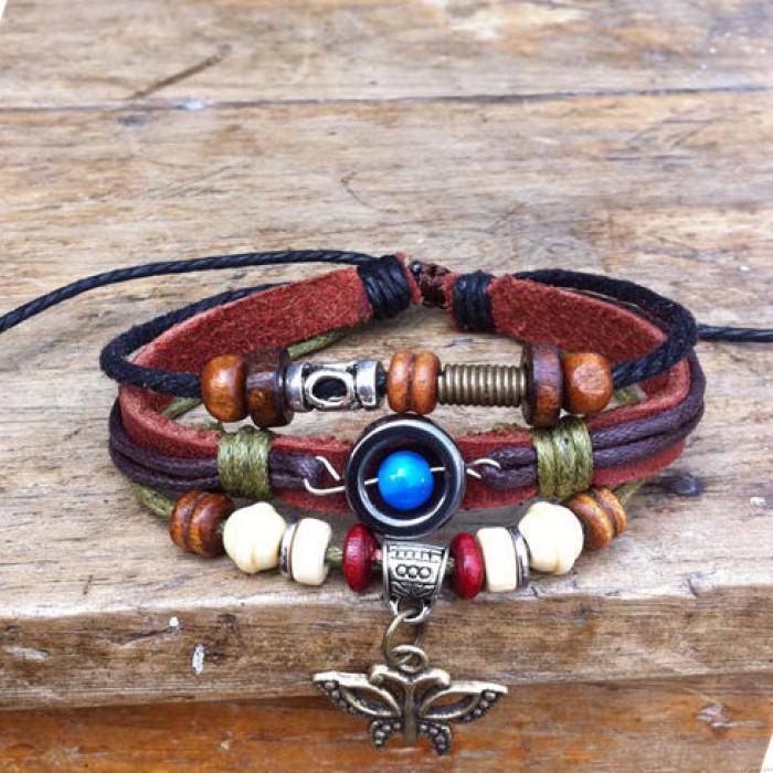 Netter Perlen-Schmetterling Leder Armband