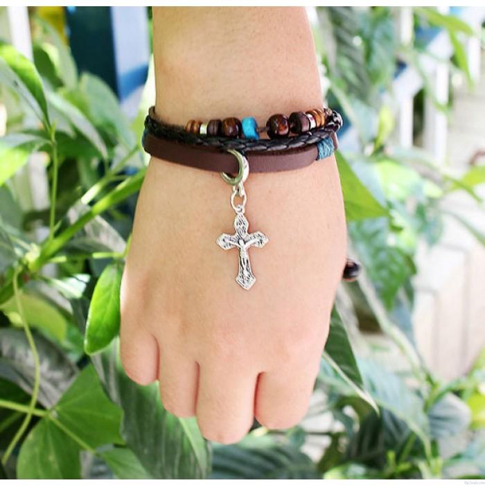 Mode Kreuz Jesus Hand-Perlen Armband