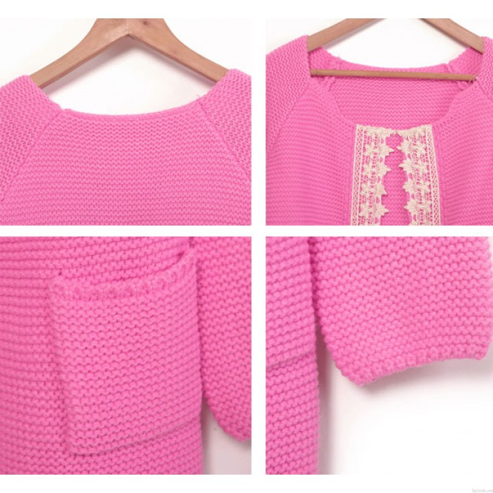 Mode Lace Weave Rose Ärmel Pullover & Strickjacke