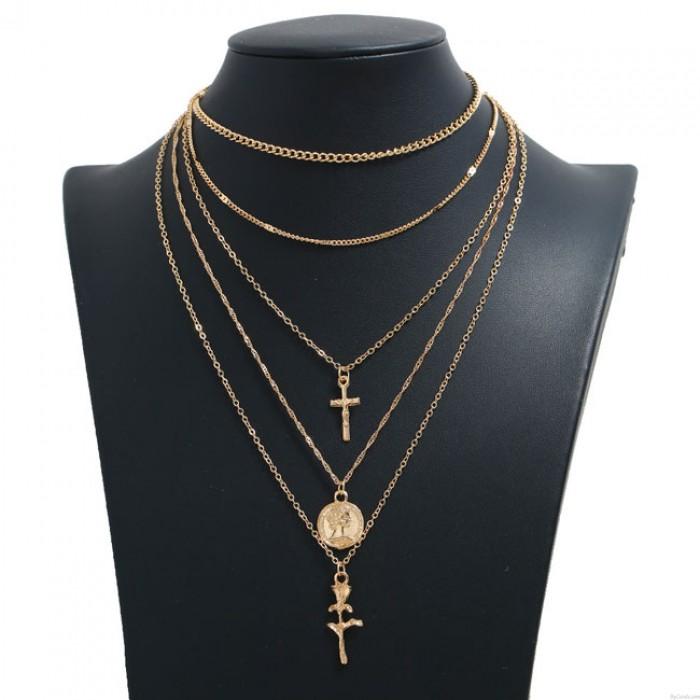 Mode personalisierte einfache Kreuz Rose Münze mehrschichtige Frauen Halskette