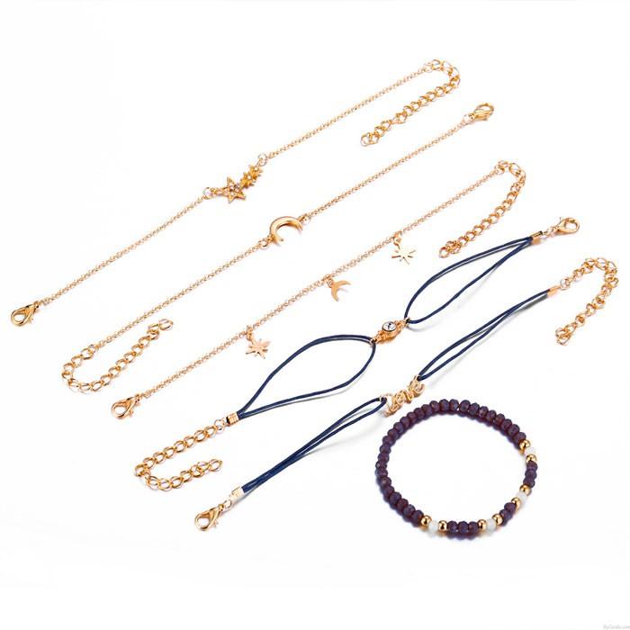 Einzigartig Star Mond Liebesperlen Sechsteiliges Fußkettchen-Frauenarmband