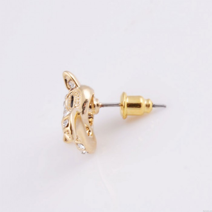 Mode Niedlich Golden Fuchs Strasssteine Ohrringe