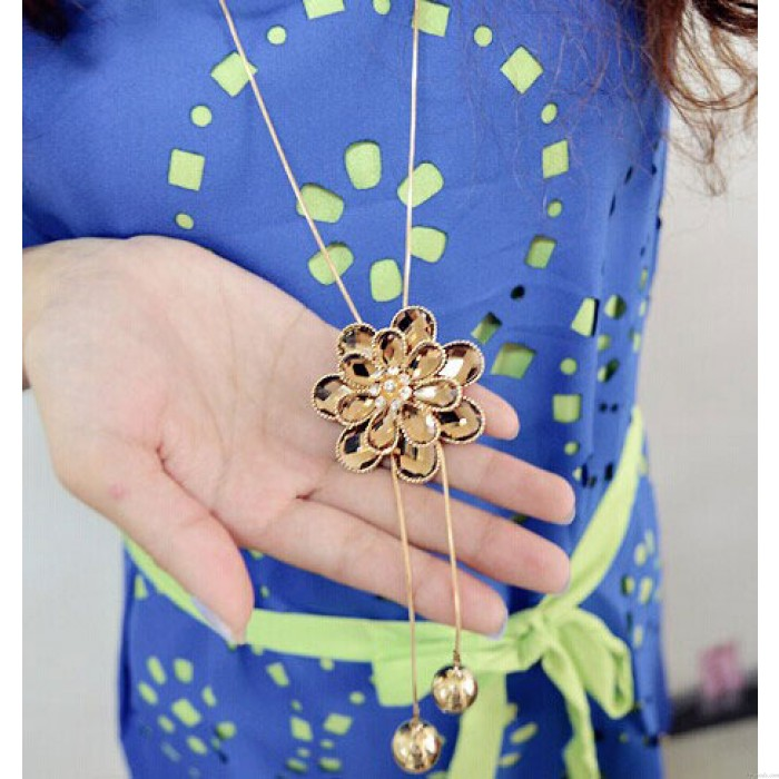 Blume Tassel Strass lange Pullover Halskette
