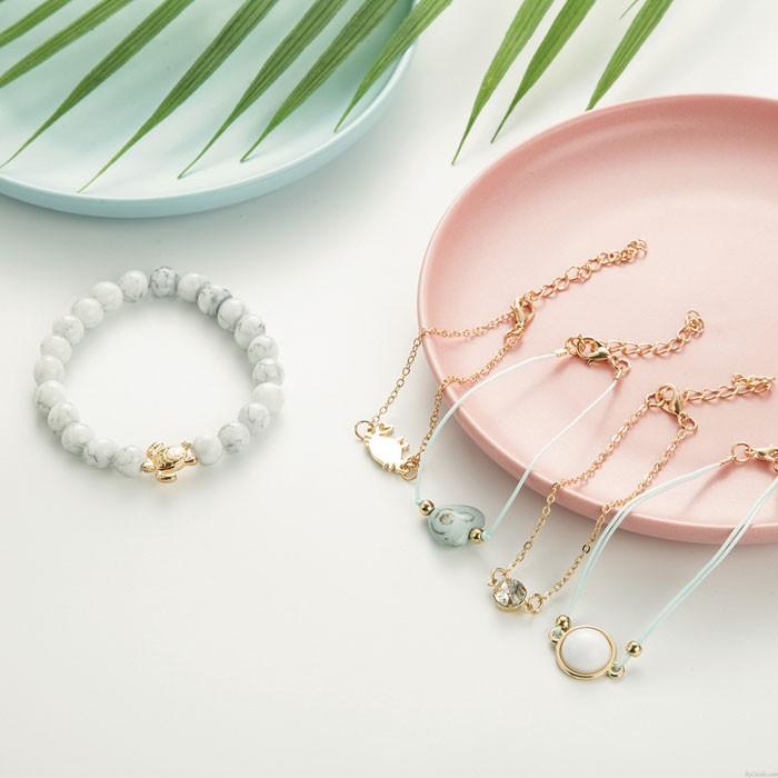 Persönlichkeit Schildkröte Krabben Liebe Perlen Türkis Fünfteiliges Set Armband