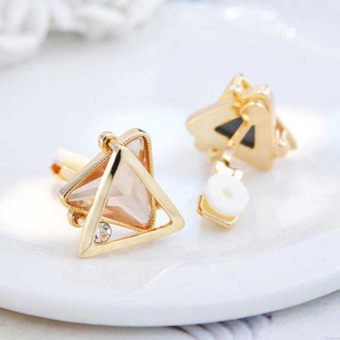 Mode Dreieckige Doppelschicht Kristall Diamant Silber Hohl Frau Ohrstecker Ohrclip