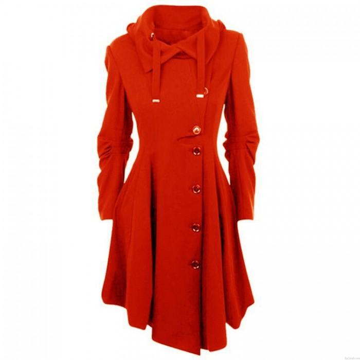 Freizeit einzigartige warme unregelmäßige lange Ärmel unregelmäßigen Saum doppelseitige Wollfrauen Mantel
