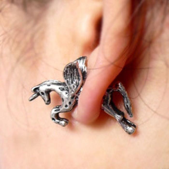 Retro Punk Pferd Bronziert Silber Pegasus Ohrstecker
