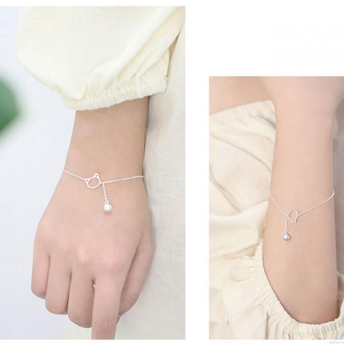 Süße Kätzchen Kopf Glocke Silber Armband Liebhaber Geschenk Accessoires Katze Quaste Frauen Armband