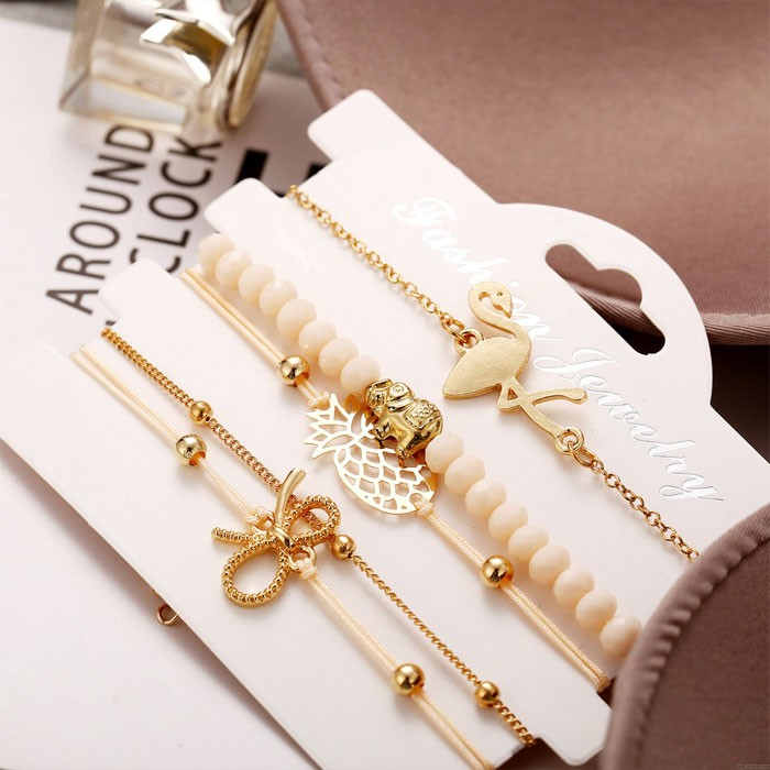 Einzigartiges Flamingo-Ananas-Bogen-Elefantenperlen-Armband Fünfteiliges Set-Armband