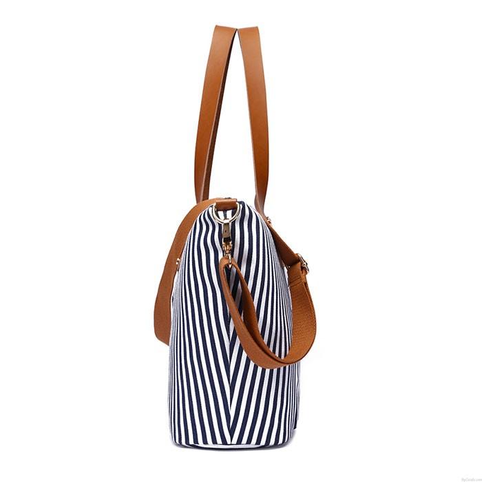 Freizeit Strand Streifen Umhängetasche Mode Streifen große Leinwand Frauenhandtasche