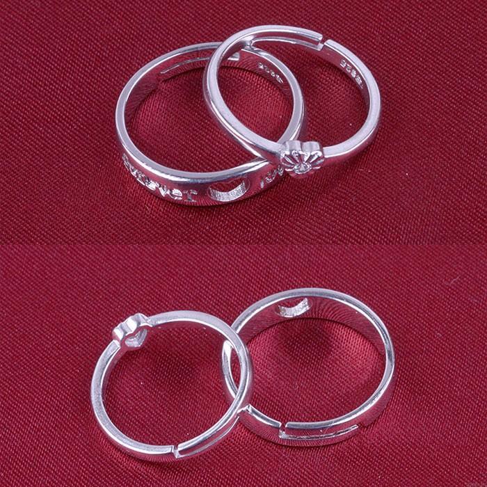 Süße Liebe Herz geformt gebürstet Silber paar verstellbare Ringe