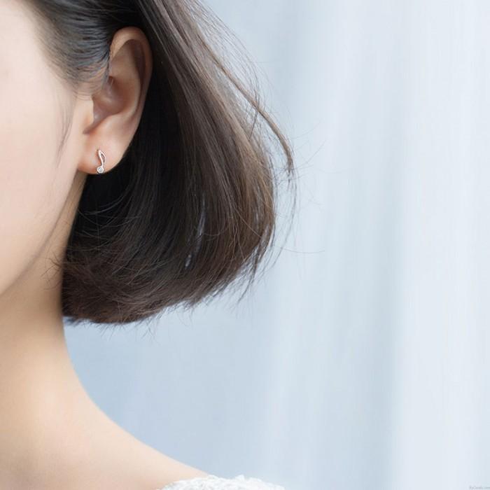 Mode G-Schlüssel Musiknote Kristall Silber Ohrringe für Frauen Asymmetrische Ohrringe Ohrstecker