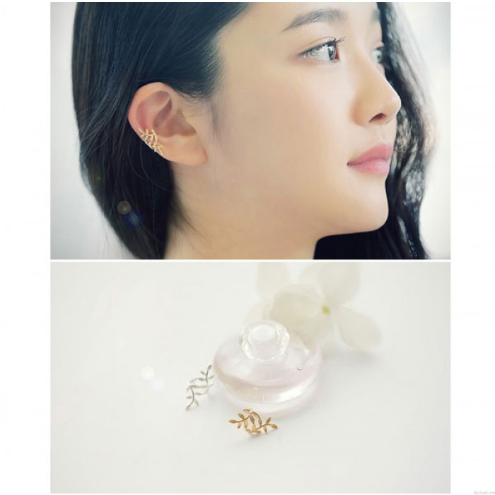 Nette Blätter Silber durchbohrte Ohrclip Ohrring