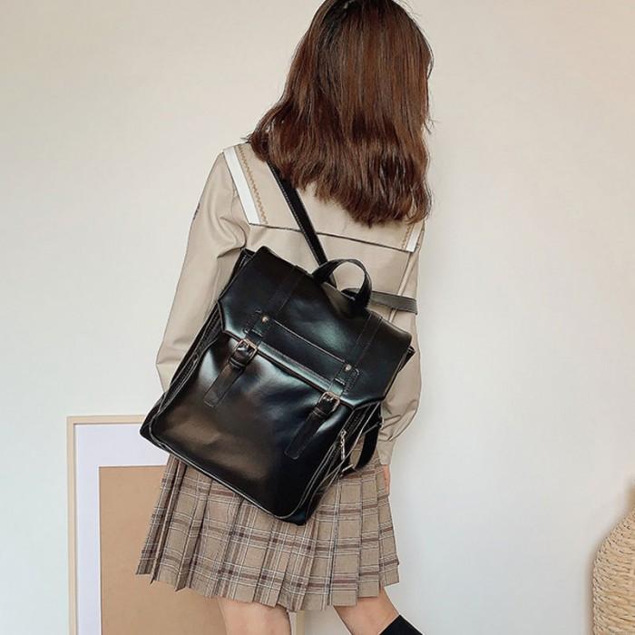 Retro Doppelschnalle Schüler Büchertasche Für Mädchen im britischen Stil Übergröße Wasserdichter Schulrucksack aus PU-Leder