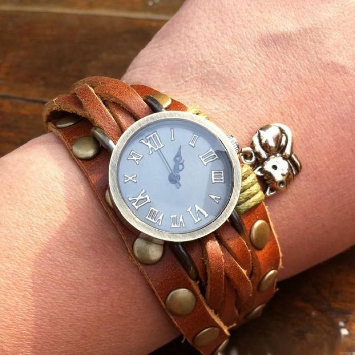 Original Eingewickelt Zweimal Katze Leder Armband Uhr