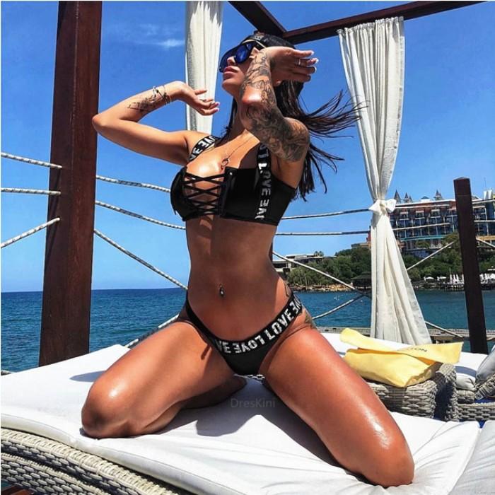 Einzigartige BH Bandage Bademode Special LOVE Brief Schultergurt Sommer Bikinis