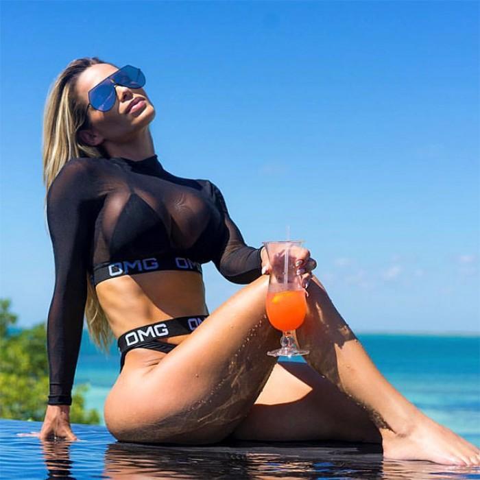 Sexy OMG Brief mit langen Ärmeln Sonnencreme Sommer Badeanzug Perspektive Mesh Bikinis