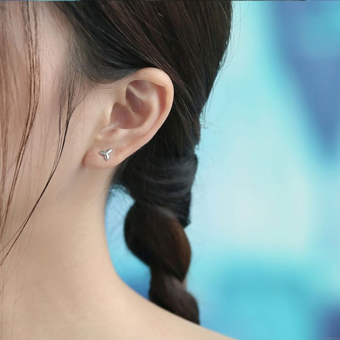 Fresh Olive Branch Earrings Asymmetry Leaves Silber Damen Ohrringe Ohrstecker