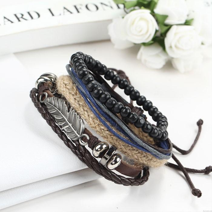 Retro Legierung Mehrschichtiges Holz Perlen Engel Flügel Feder gewebt Perlen Wachs Armband