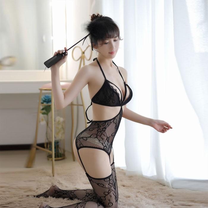 Sexy Temptation Einteiliger Pyjama Strümpfe Fischnetz öffnen Hohle schwarze Damenwäsche